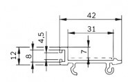 Bosch kompatibilis vezetőprofil   42x12 mm FP 2/  PA, fekete