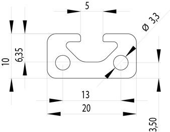 Item kompatibilis profil 10x20 Nut5