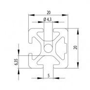Item kompatibilis Profil, 20x20 1N zárt Nut5