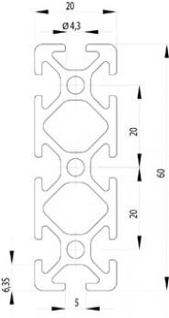Item kompatibilis profil 20x60 Nut5