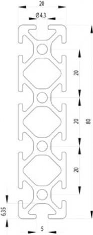 Item kompatibilis Profil, 20x80 Nut5