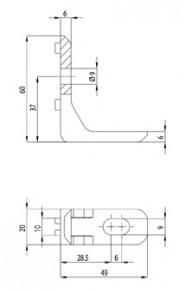 Panel szerelő szett biztosító szeggel Nut10, 2 db sarokelem, 2 db rögzített sarokelem, 2 db rögzítő elem, 2 db rögzítő alátét, 4 db M8×20 mm kalapácsfejű csavar, 2 db M8×16 biztonsági csavar, 2 db központosító csap.