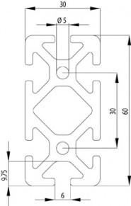 Item kompatibilis Profil, 30x60 S Nut6