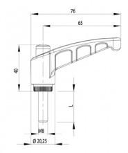 Rögzítőkar kioldó gombbal M8x16