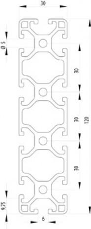 Item komptibilis profil 30x120 L Nut6