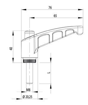 Rögzítőkar kioldó gombbal M8x20