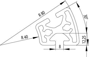 Item kompatibilis profil  R40/80 - 30° Nut8
