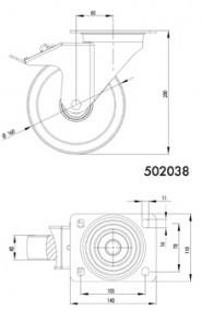 Kerék D160, talplemezes, forgóvillás, rögzítőfékes, nagy teherbírású