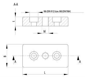 Talp adapter B 40x80 M16, cink öntvény