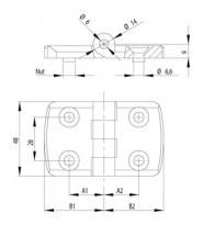 Zsanér szett 50x50-es profilhoz, Nut10, PA fekete, rögzítő készlettel