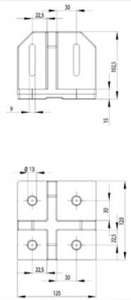 Padlórögzítő B 120x120, alumínium ESD