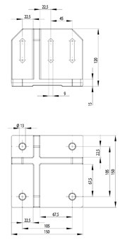 Padlórögzítő B 150x150, alumínium ESD
