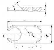 Lefogató lap D60 trapéz talphoz (501283), cink öntvény fekete porszórt