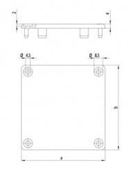 Csatorna profil végzáró kupak 40x80-as profilhoz, PA fekete