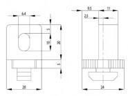 VARIOFIX-BLOKK B NUT8 M6, 1-13MM, PA FEK