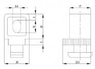 Variofix-blokk B Nut10, M6-os rögzítő csavarral, 1-13mm, PA fekete