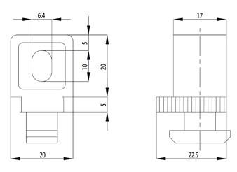 VARIOFIX-BLOKK B NUT10 M6, 1-13MM, PA FE