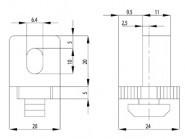 Variofix-blokk B Nut8 M6, 1-13mm, PA szürke
