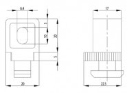 Variofix-blokk B Nut10, M6-os rögzítő csavarral, 1-13mm, PA szürke