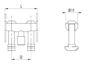 Csapos összekötő szett 30-as profilhoz, D11x30