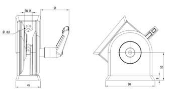 Csuklós elem szett B 45x90-es profilhoz