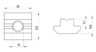 Horonyanya B Nut10 M6 nehéz kivitel