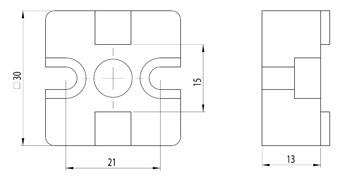 T-összekötő szett 30x30 Nut8