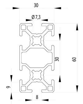 BOSCH KOMPATIBILIS PROFIL 30X60 NUT8