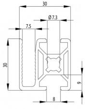 Bosch kompatibilis keretprofil 30x30 WG40 Nut8