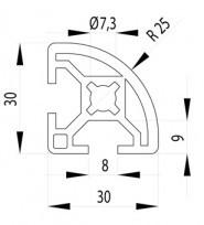 BOSCH KOMPATIBILIS PROFIL 30X30 R90 NUT8