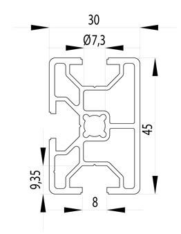 BOSCH KOMPATIBILIS PROFIL 30X45 NUT8