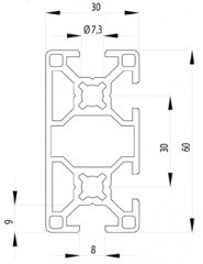 Bosch kompatibilis Profil   30x60 4N Nut8
