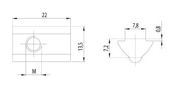 Horonyanya, Nut8 M6, rugós golyóval, rozsdamentes acél