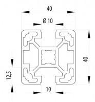 Bosch kompatibilis Profil   40x40 L 2N180 nyitott Nut10