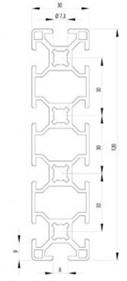 Bosch kompatibilis profil 30x120 Nut8