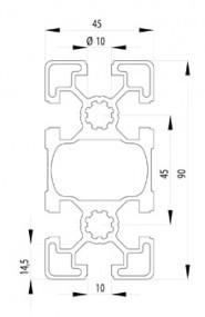 BOSCH KOMPATIBILIS PROFIL 45X90 L NUT10