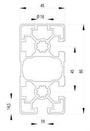 Bosch kompatibilis Profil   45x90 L 3N90 nyitott Nut10