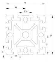 Bosch kompatibilis Profil   90x90 S Nut10